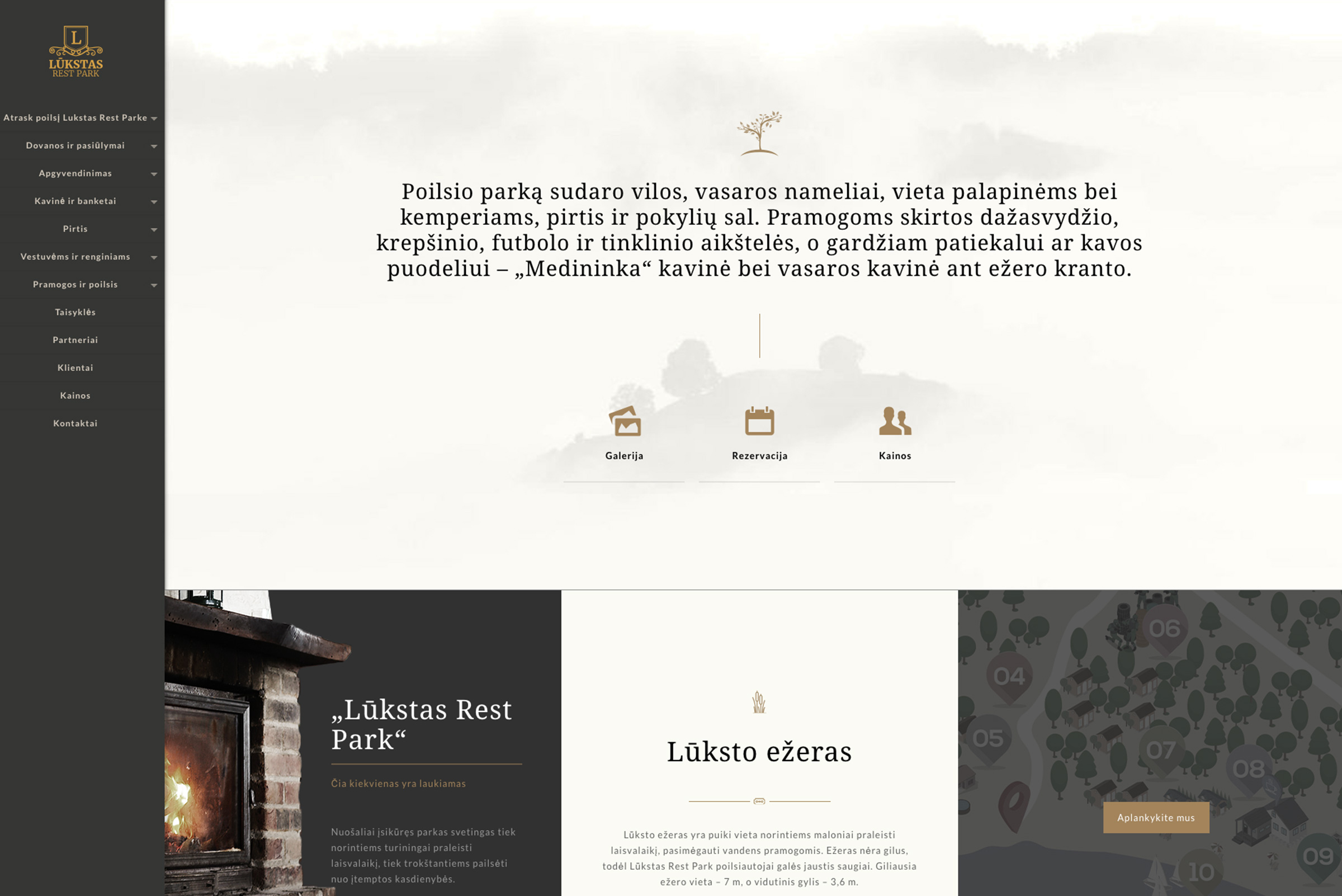 Lukstas Rest Park Website mockup