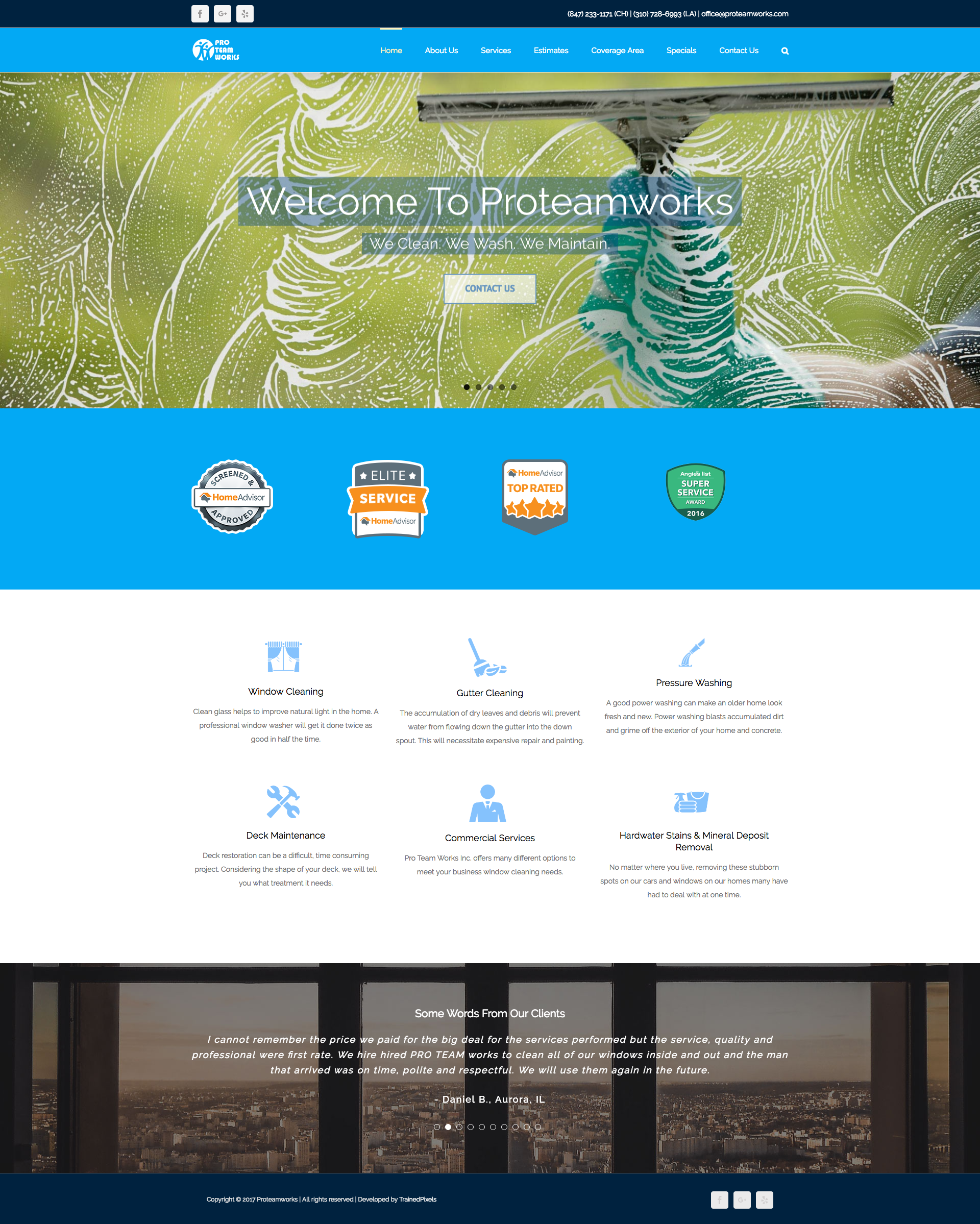 Proteamworks a cleaning business website design